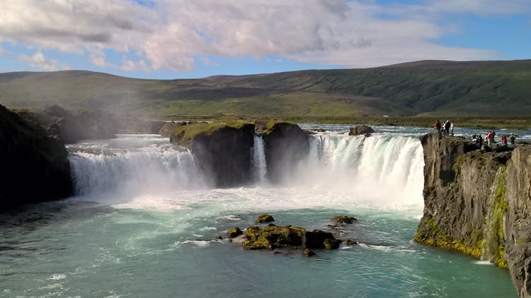 Goðafoss Waterfall is a historic feature in North Iceland on the Diamond Circle.
