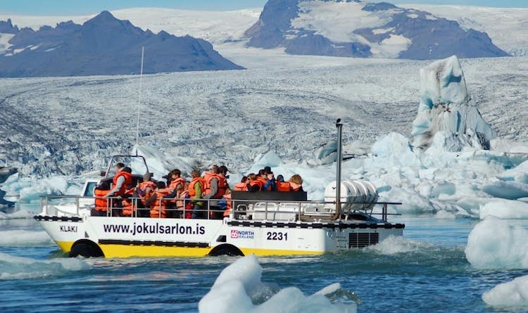 An optional boat tour is a great way to explore the amazing ice within south-east Iceland's Jökulsárlón glacier lagoon.