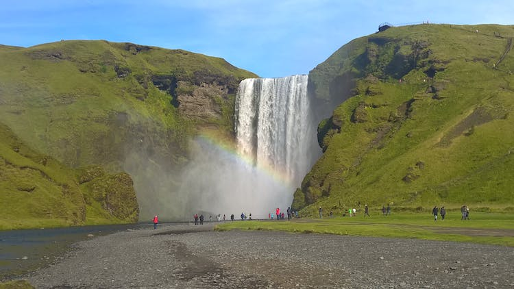 Skógafoss in South Iceland is known for its size, power, and rainbows in summer.
