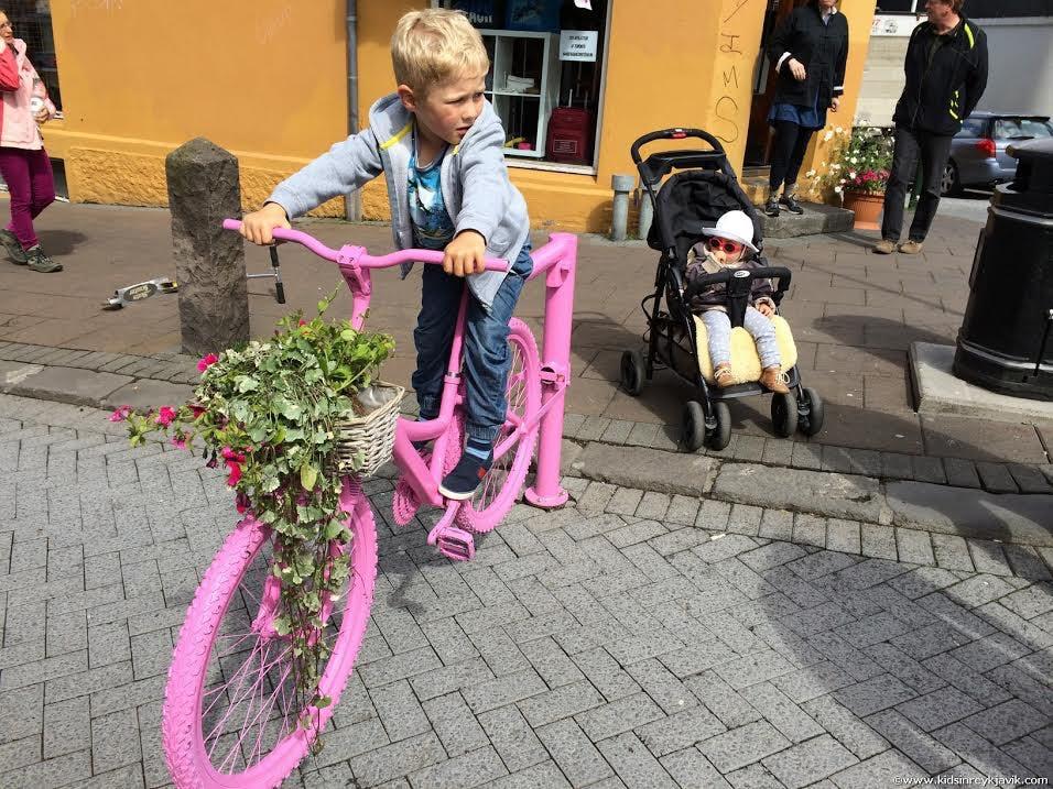 Playing on Laugavegur Street in Reykjavik, Iceland