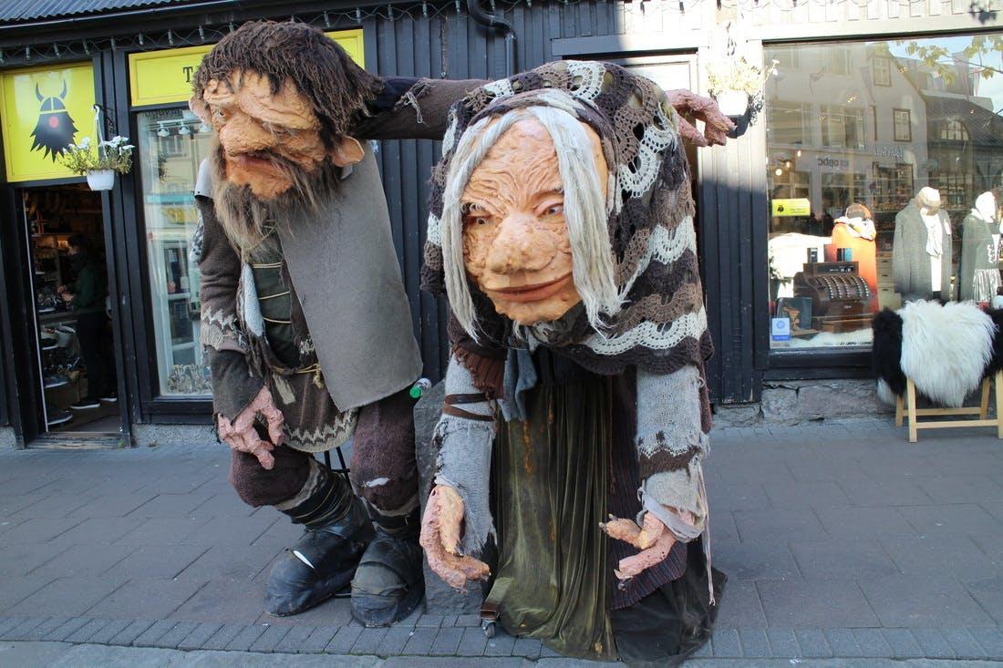 The trolls have walked from Akureyri to Reykjavik's main shopping street, Laugavegur