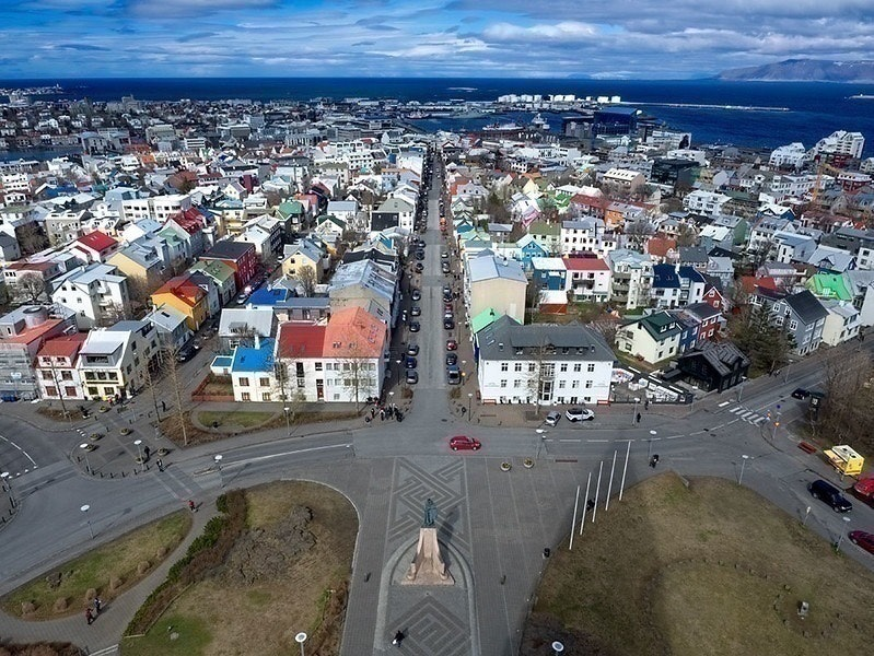 The view from the top of Hallgrimskirkja in Reykjavik, Iceland