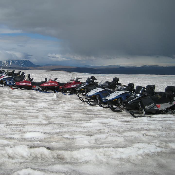 An optional Snowmobiling adventure is a great way to break up a day of sightseeing on the Golden Circle.