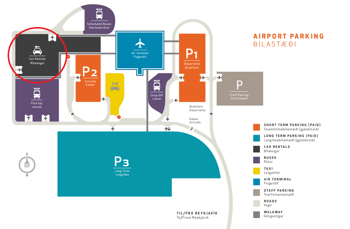 The location of car rentals in Keflavik International Airport / Photo: Keflavik International Airport