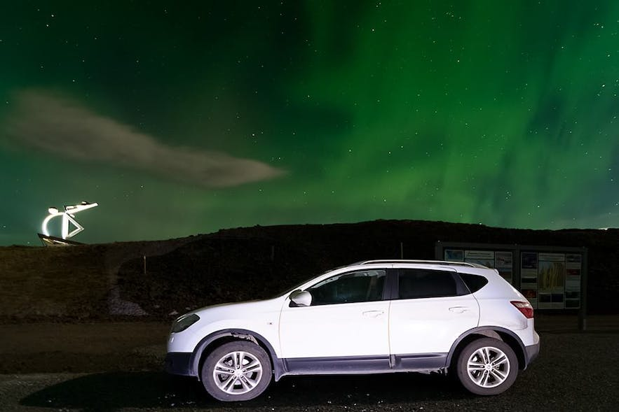 Driving in the northern lights