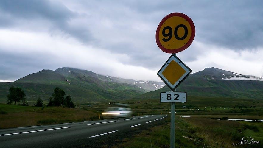 Speedlimit 90 on all Roads in Iceland