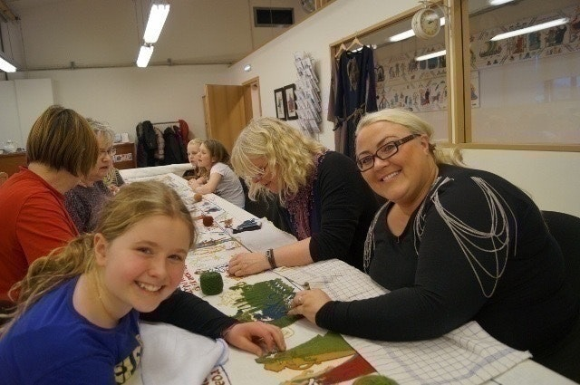 Sewing at the Icelandic Saga Center in Hvolsvöllur