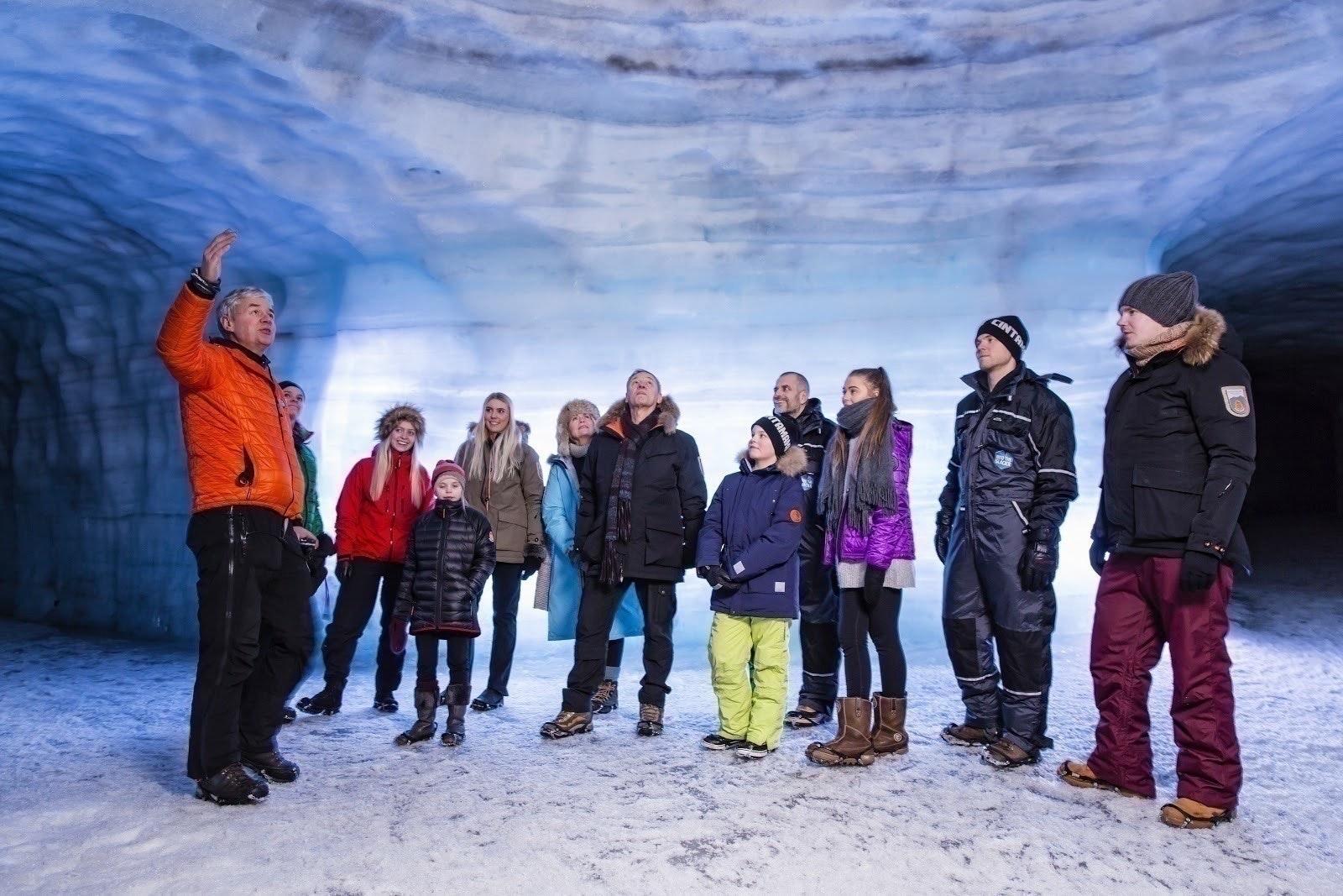 Inside man-made tunnels at Langjökull glacier, west Iceland