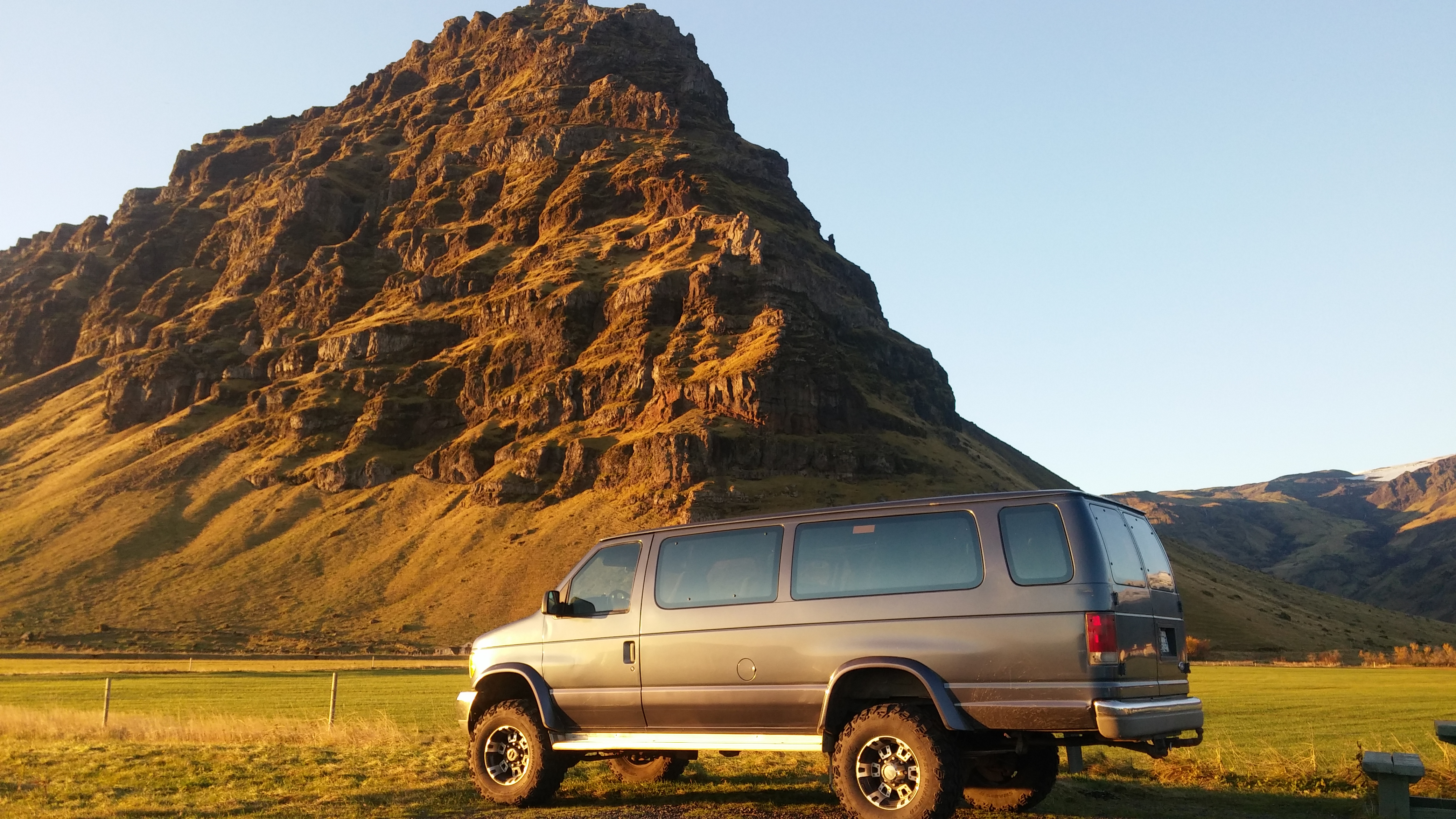 A Super Jeep en route to Hrísey Island via Iceland's northern country roads.