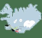 La route du passeport Hautes Terres, telle qu'elle apparaît sur une carte de l'Islande.