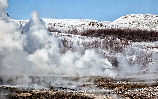 The geothermal valley Haukadalur in South Iceland is dotted with mud pools, hot springs and geysers.