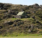 This old mountain hut in the Highlands of Iceland has a stone-laid structural base, same as the traditional turf houses that the natives used to built hundreds of years ago.