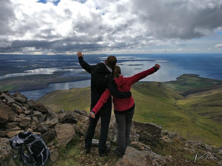 View on top of Mount Esja