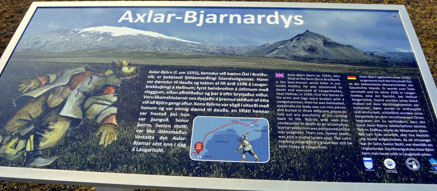 The information sign about Axlar-Björn at Snæfellsnes
