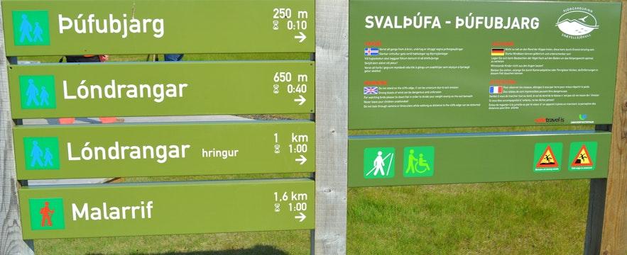 The information sign for Lóndrangar and Þúfubjarg