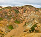 Landmannalaugar's rhyolite mountains have patches of green moss and, unusually, green rock.