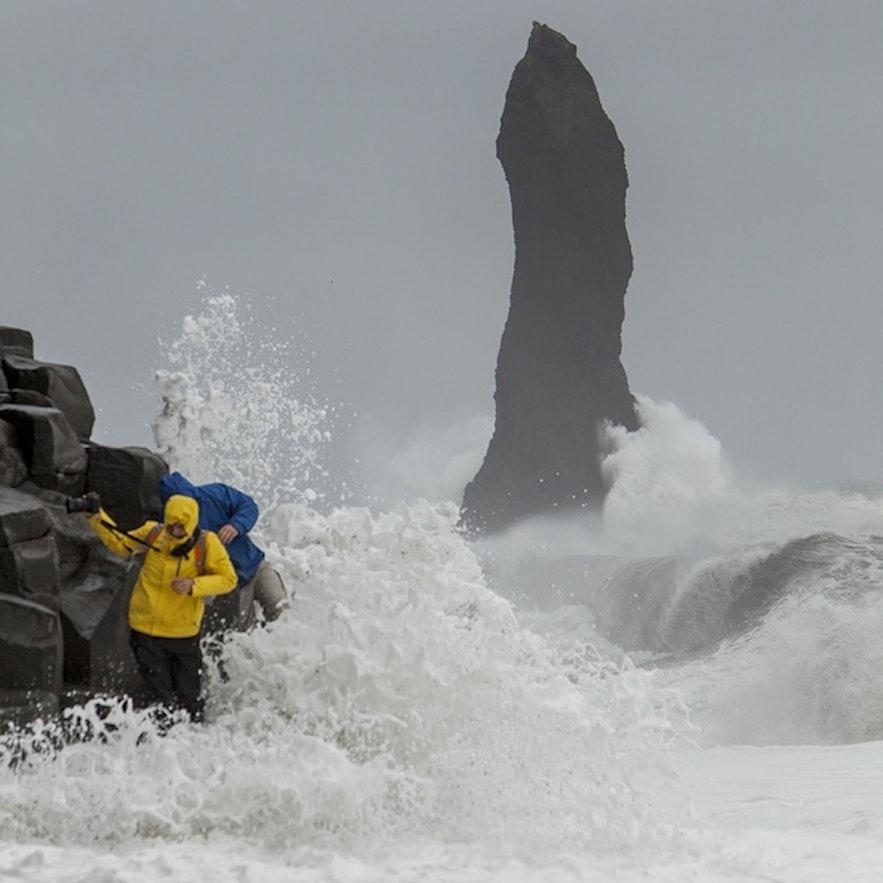 People in danger at Reynisfjara beach