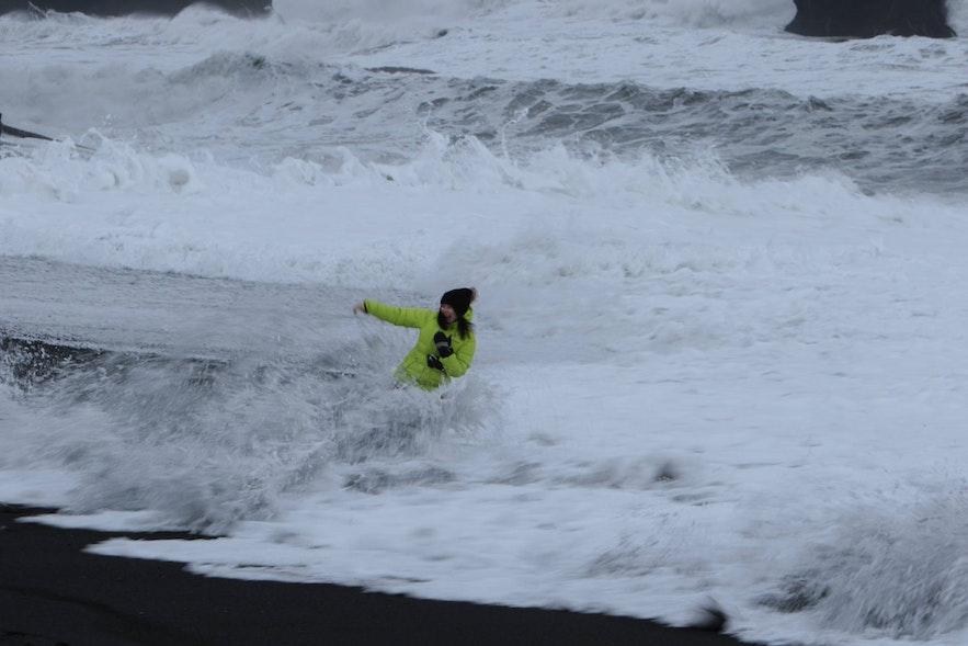 Tourists in danger at Reynisfjara beach