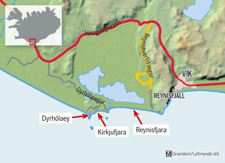 A map of Reynisfjara beach