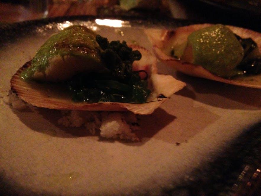 Scallop ceviche at seafood restaurant Kopar