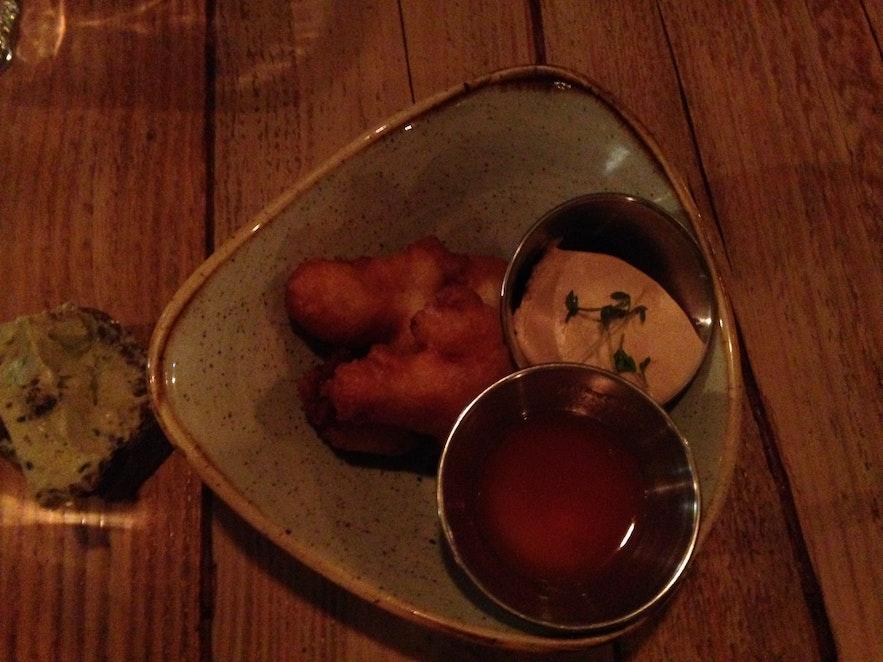 Cod tongues at seafood restaurant Kopar