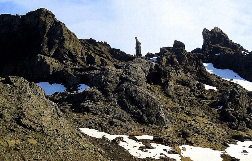 Kerling rock in Kerlingarskarð Snæfellsnes