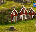 Charming turf roofed houses in the countryside are quintessential Iceland.