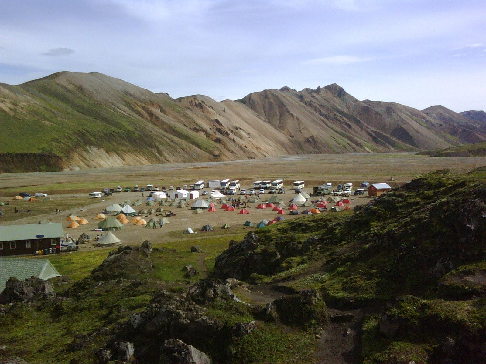Ein Campingplatz in Landmannalaugar