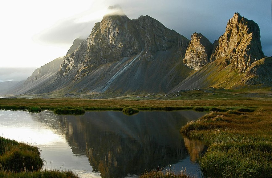 Reflection of Eystrahorn mountain in east Iceland