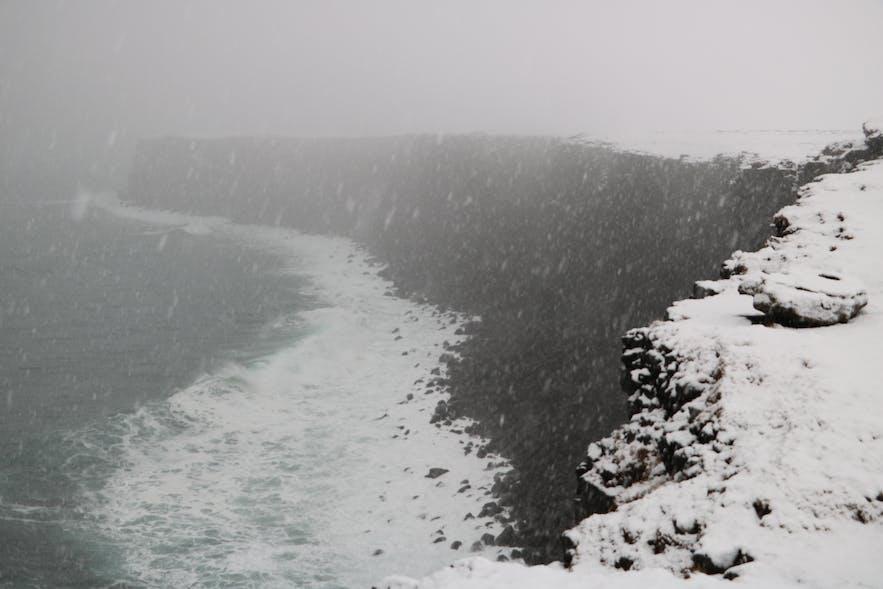 Krýsuvíkurbjarg on a snowy day in Iceland, as we saw it.