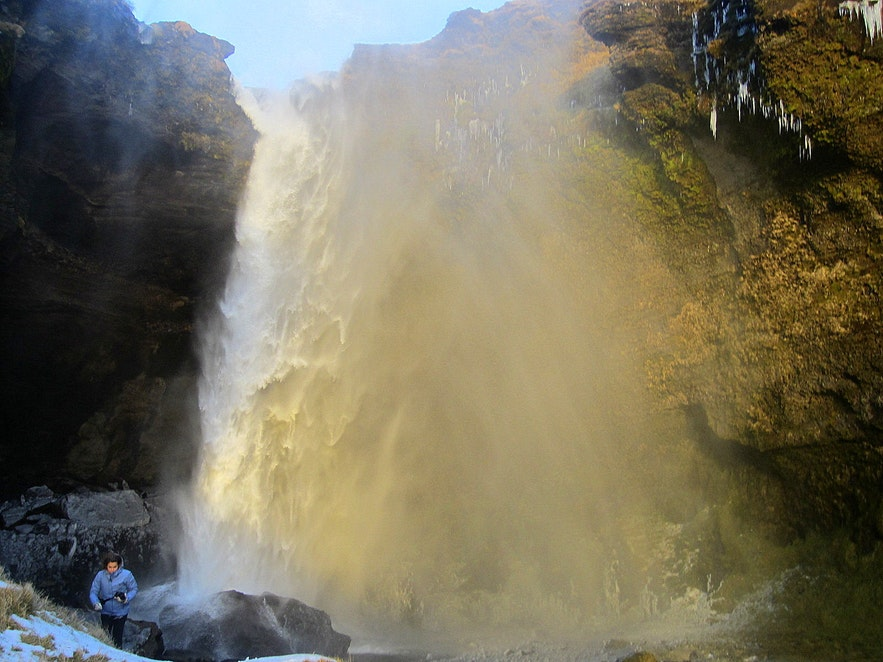 Kvernufoss waterfall doubled in size