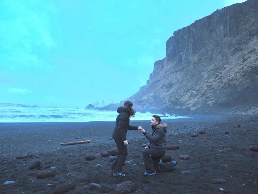Marriage proposal at Reynisfjara black sand beach