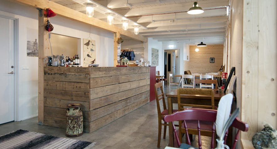 Café inside Tungulending guesthose in north Iceland