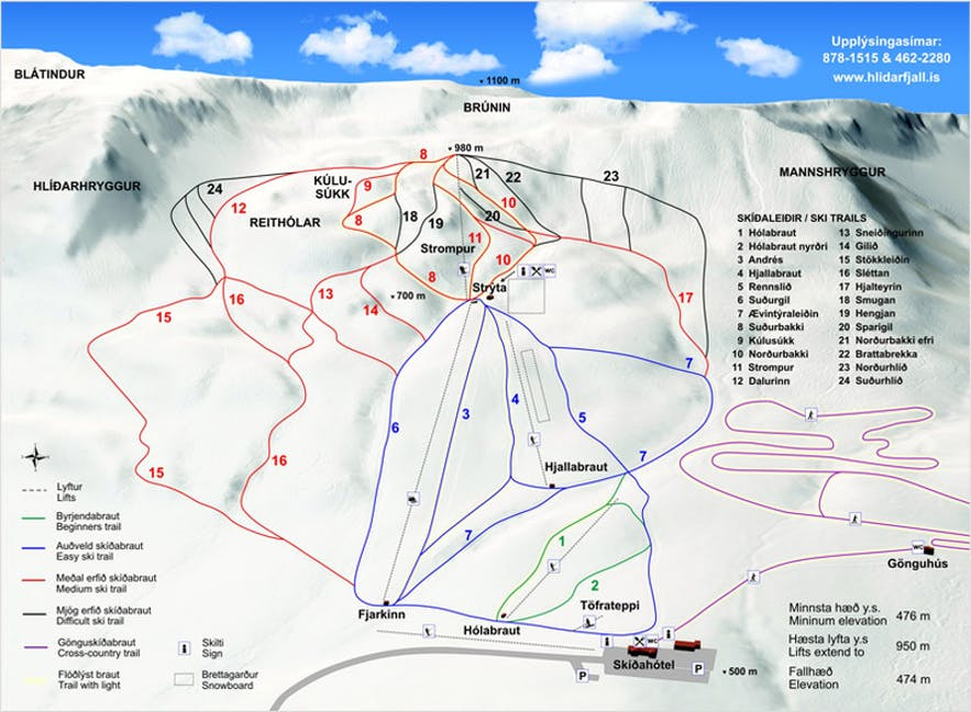 A map showing the ski resort's trails.