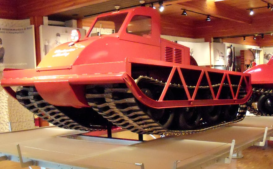 An early example of snowmobiling technology - The Bombardier.