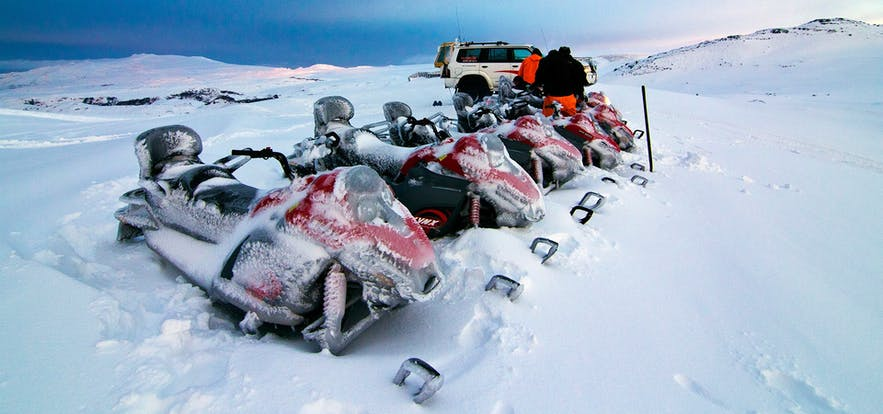 Snowmobiling on Myrdalsjokull glacier in Iceland