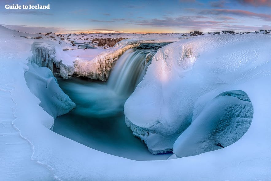 Snowy waterfall in Iceland