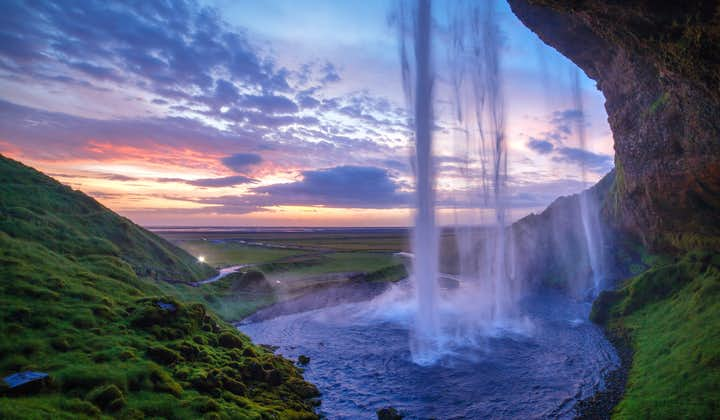 You can walk behind the waterfall Seljalandsfoss on the South Coast of Iceland.