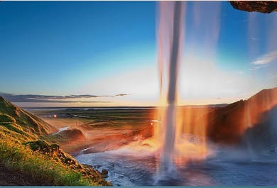 Southern Iceland Waterfalls and Beaches Private Tour in a new Mercedes Benz V-class luxury minivan