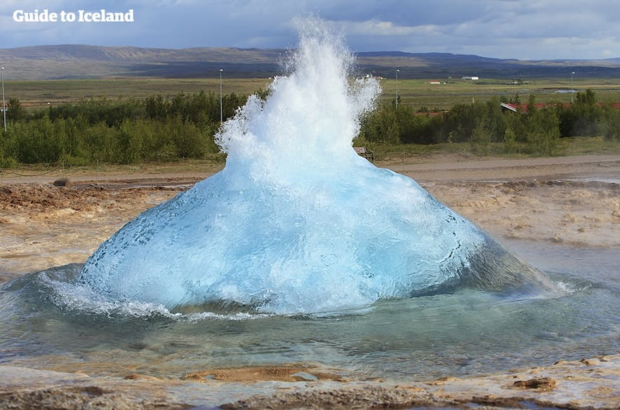 Strokkur, pictured here about to erupt, has been known to blast water 40 metres (131 feet) into the air.
