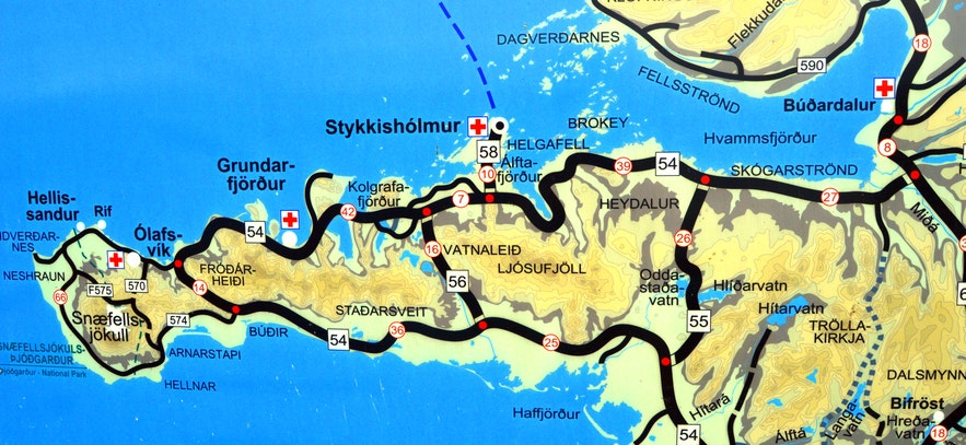 A road map of Snæfellsnes peninsula