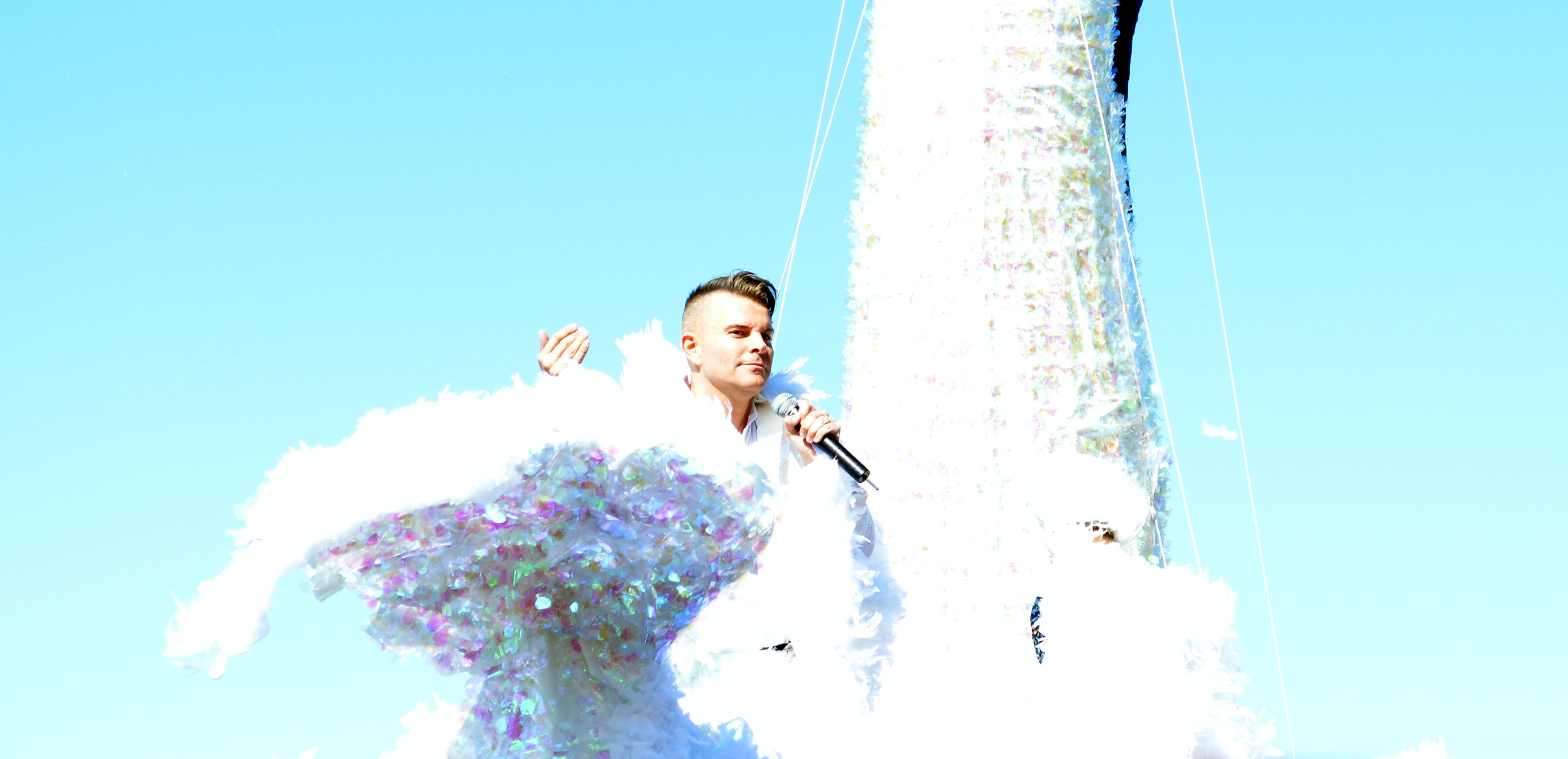 Iceland's greatest gay icon, Páll Óskar. Pictured here on an enormous glittering swan.