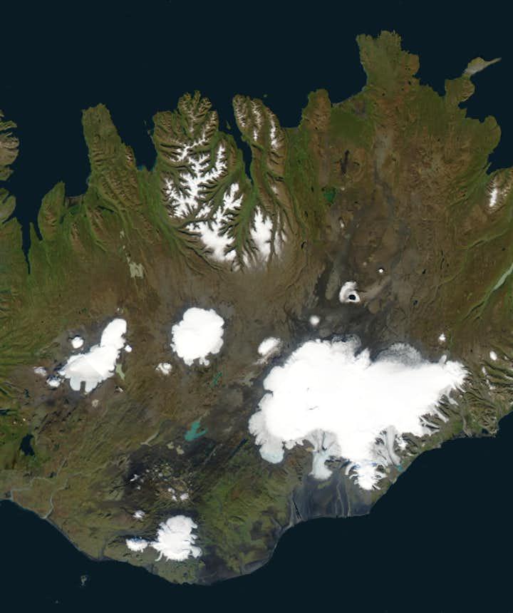 Carte montrant la localisation des glaciers en Islande