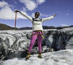 Enjoying the air of exhilaration at the top of a glacier.
