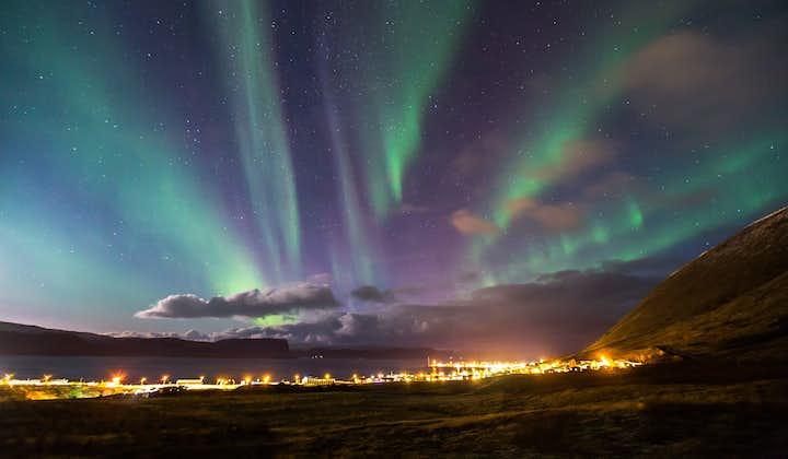 Blue and green aurora borealis descends over Patreksfjörður in the Westfjords in winter.