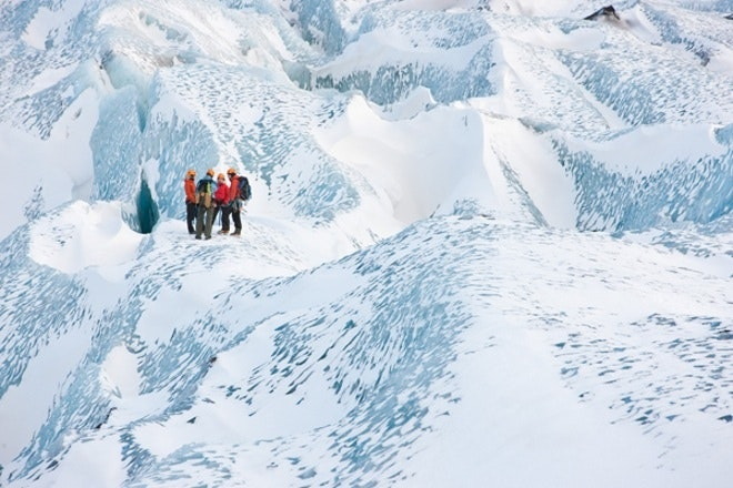 Glaciers are otherworldly places, with fascinating ice formations and brilliant colouration.