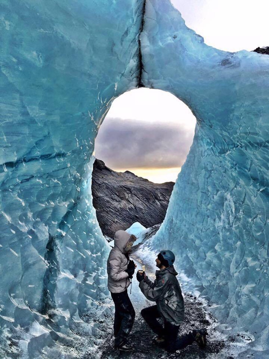 Marriage proposal on blue ice in one of Iceland's glaciers