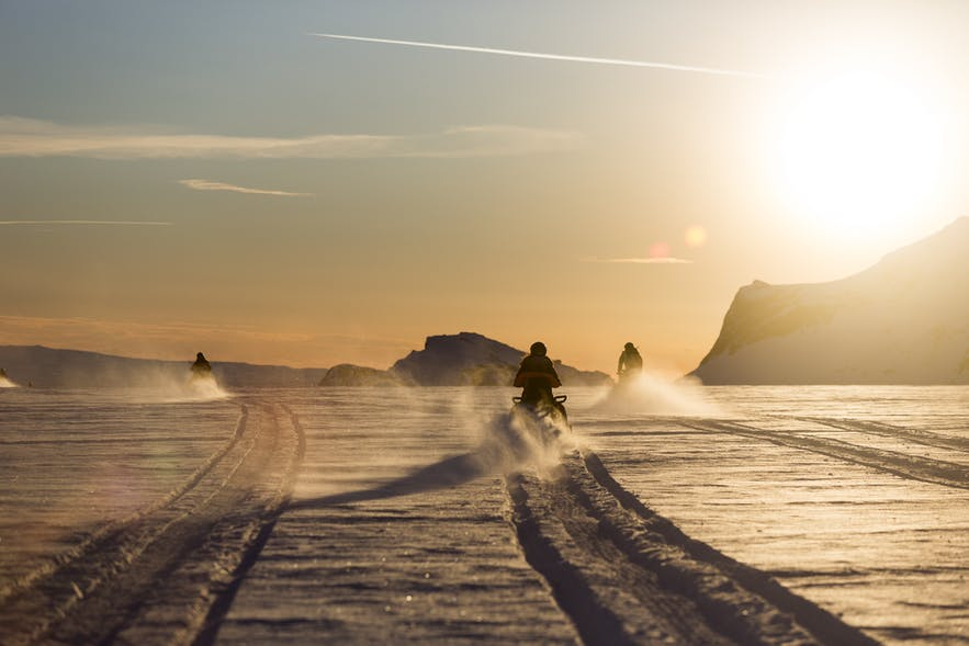 Snowmobiling on Langjökull glacier is a very popular excursion.