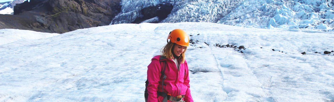 A fully equipped glacier hiker enjoying the ice, while it is still with us.