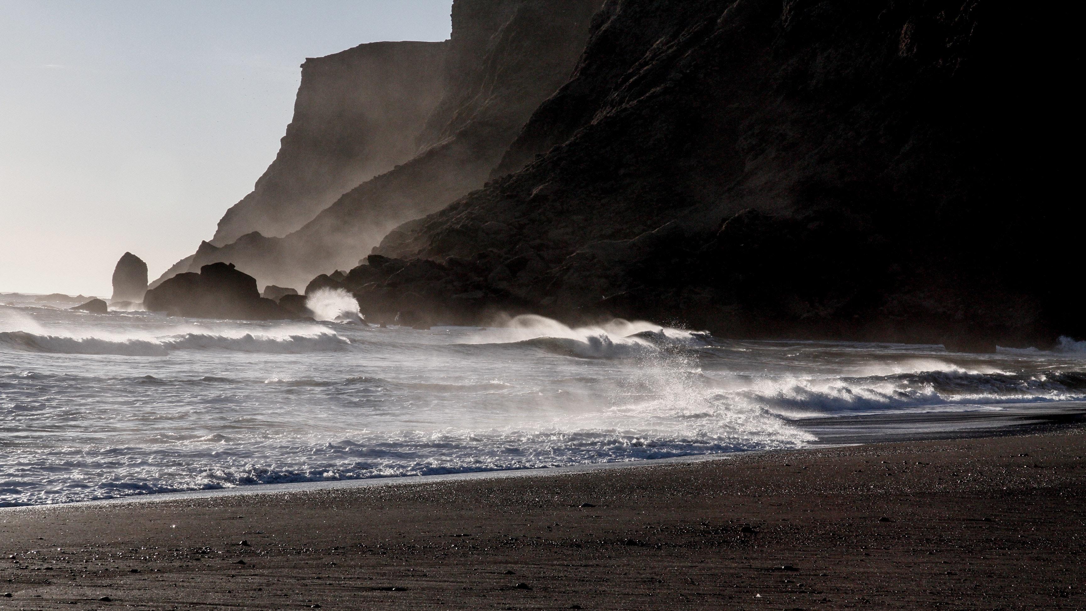 Reynisfjara black sand beach during January